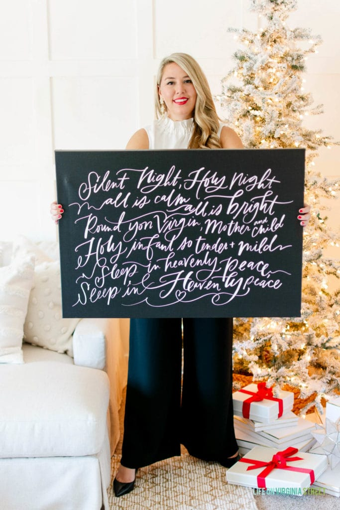 Silent Night canvas paired with Gibson x Hi Sugarplum Holiday Collection pieces.