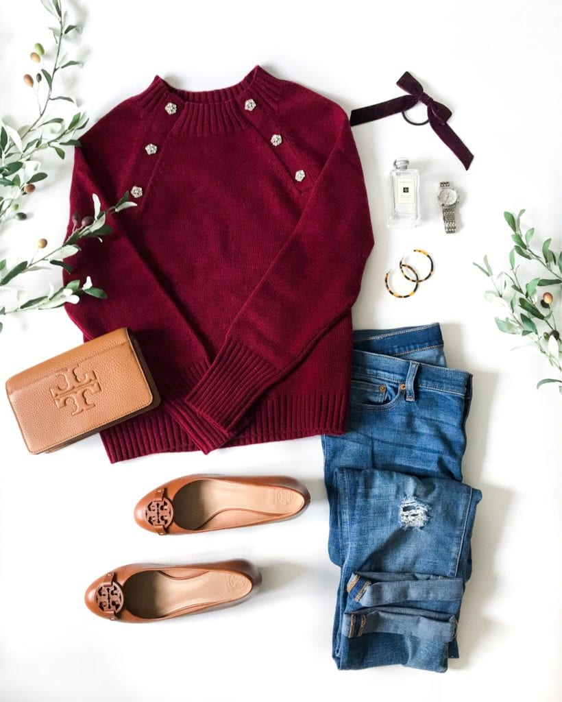 A Thanksgiving outfit idea using a wool sweater with jewel collar, boyfriend jeans, leather wedge heels, a velvet hair tie and more!
