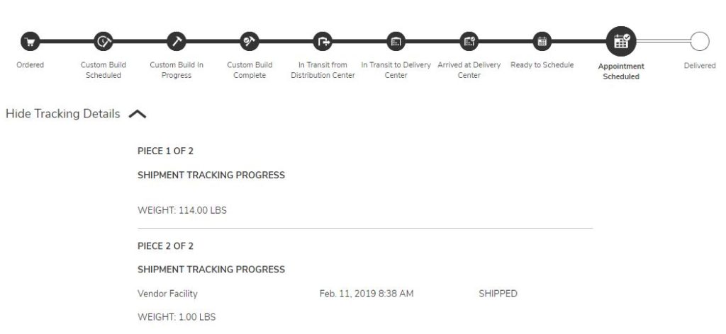 Shipment tracking poster.