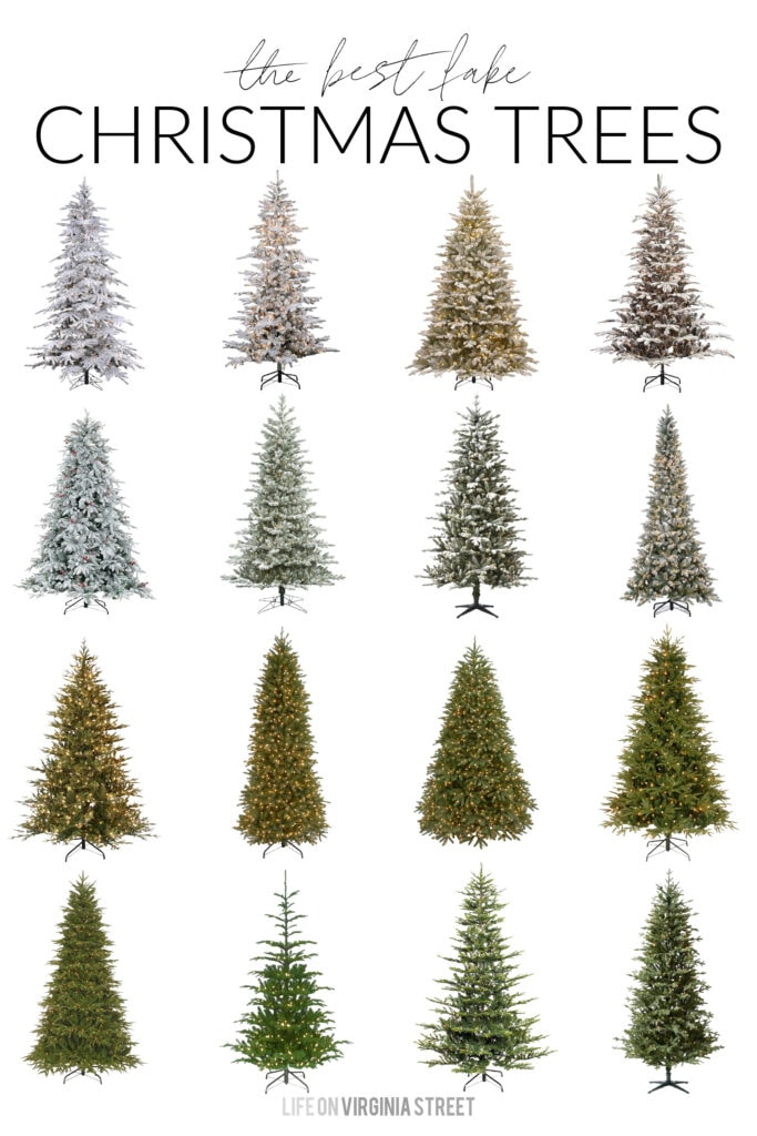 A collection of the best fake Christmas trees - including natural style options and flocked trees!