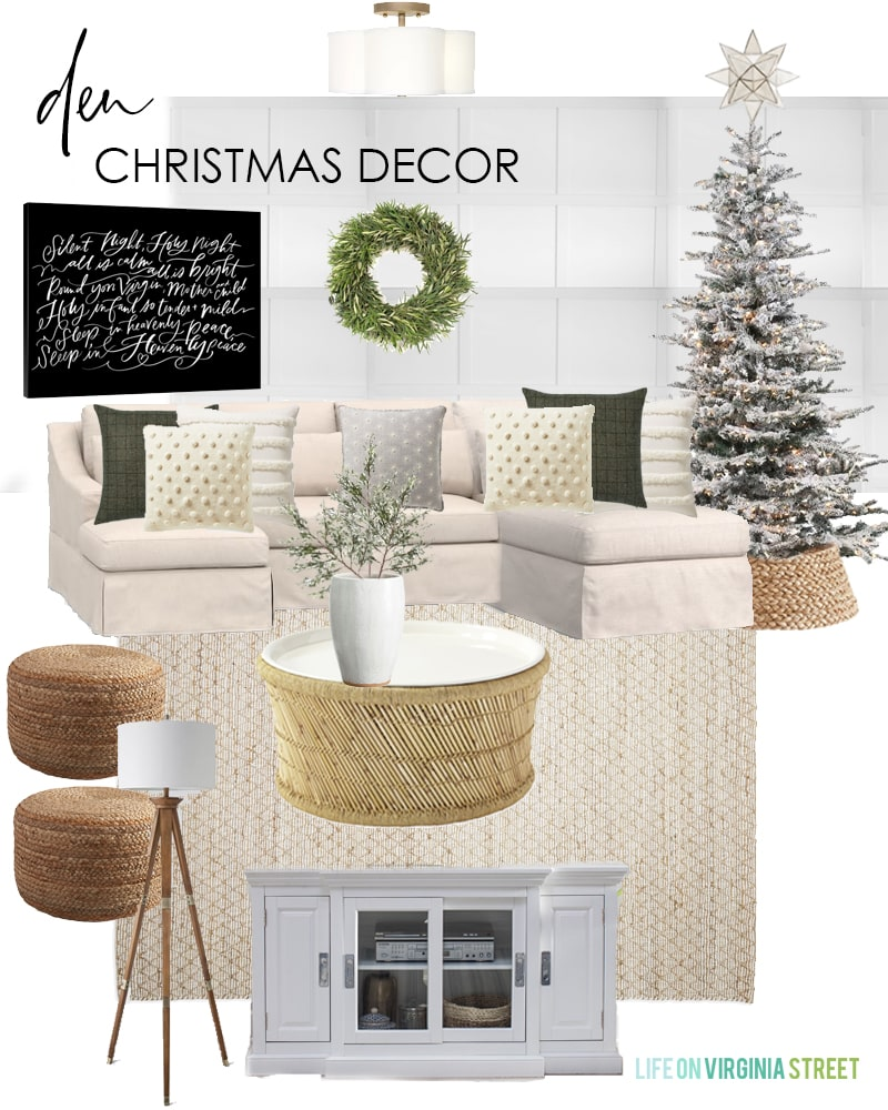 Den Christmas decorating ideas for 2019. I love the Silent Night canvas art mixed with the neutral decor and flocked Christmas tree.