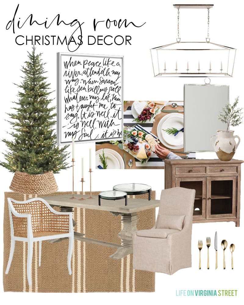 Dining room Christmas decorating ideas. Pretty, natural colors with a striped rug, and silver chandelier.