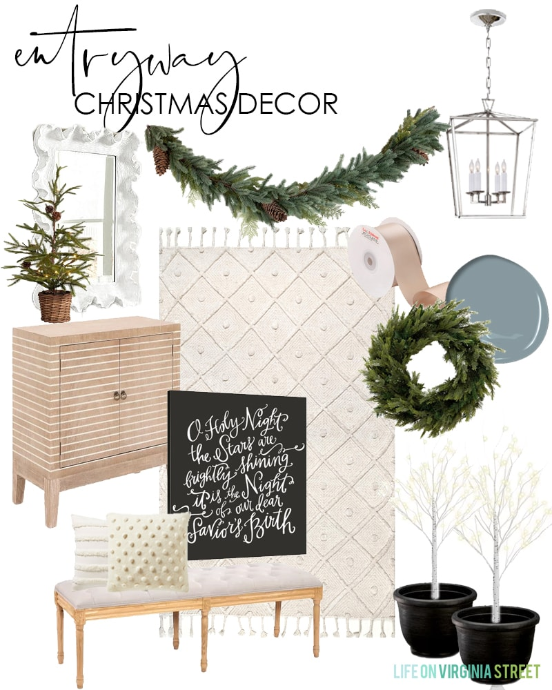 Entryway Christmas decorating ideas for 2019. I love this neutral take on Christmas decor with blush and ivory mixed with natural greenery.