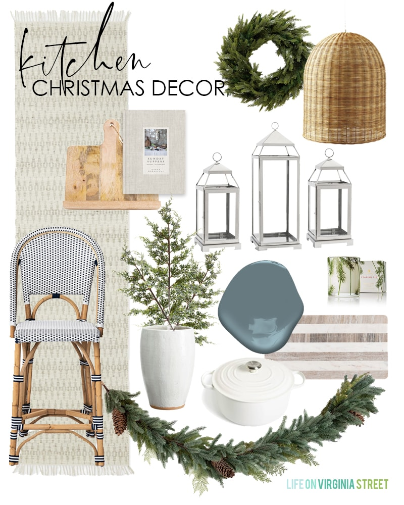 Simple Christmas decorating ideas for your kitchen! Love the ideas of the wreath in the window and silver lanterns filled with faux snow.