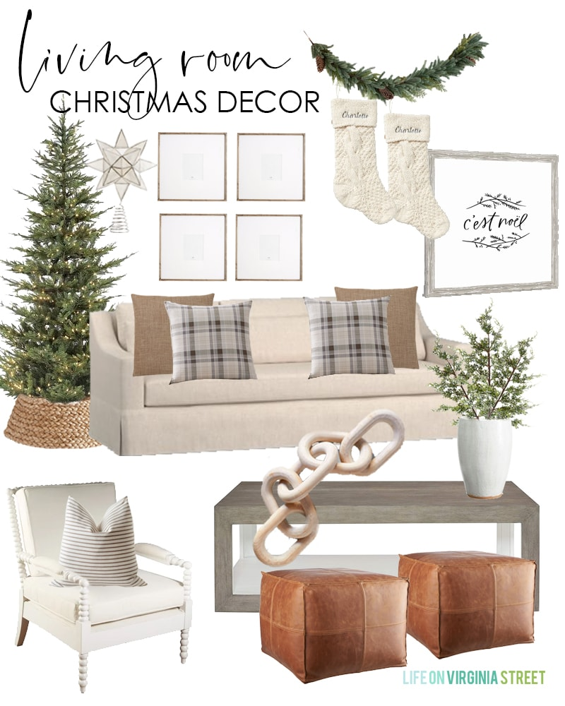 Living room Christmas decorating ideas for 2019. Love this simple, neutral plaid look for the holidays. Filled with a natural looking Christmas tree, woven basket tree collar, and chunky knit stockings.