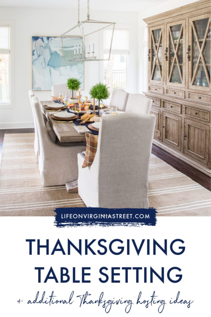 A simple Thanksgiving table setting and decor. Includes additional Thanksgiving hosting ideas and tips!