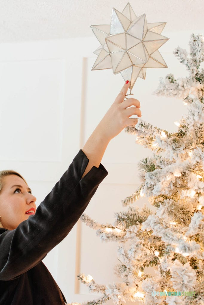 This Capiz Moravian Star Tree Topper is my favorite this year and is beautiful with our flocked Christmas tree.