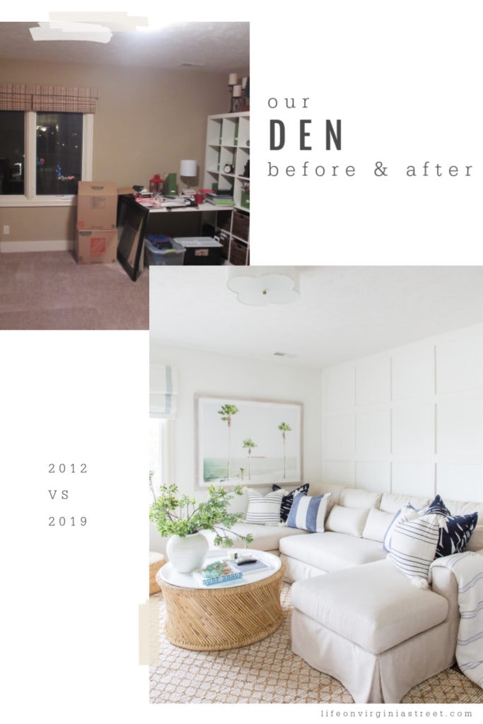 The den in a coastal decorated decor with a white pottery barn couch and a large coffee table.