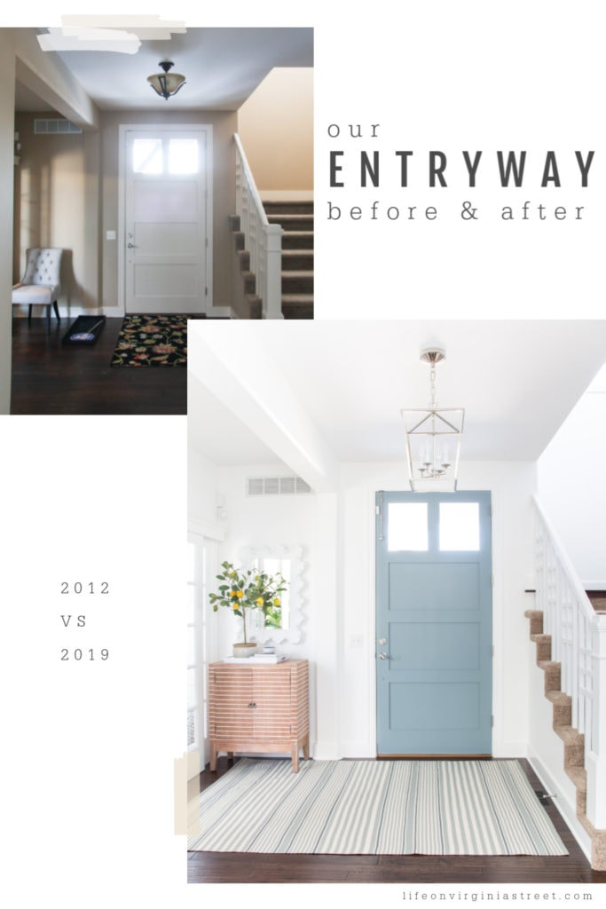 Two pictures showing how the entryway has changed over the years. The front for is now a light blue with a pretty chandelier in the foyer.
