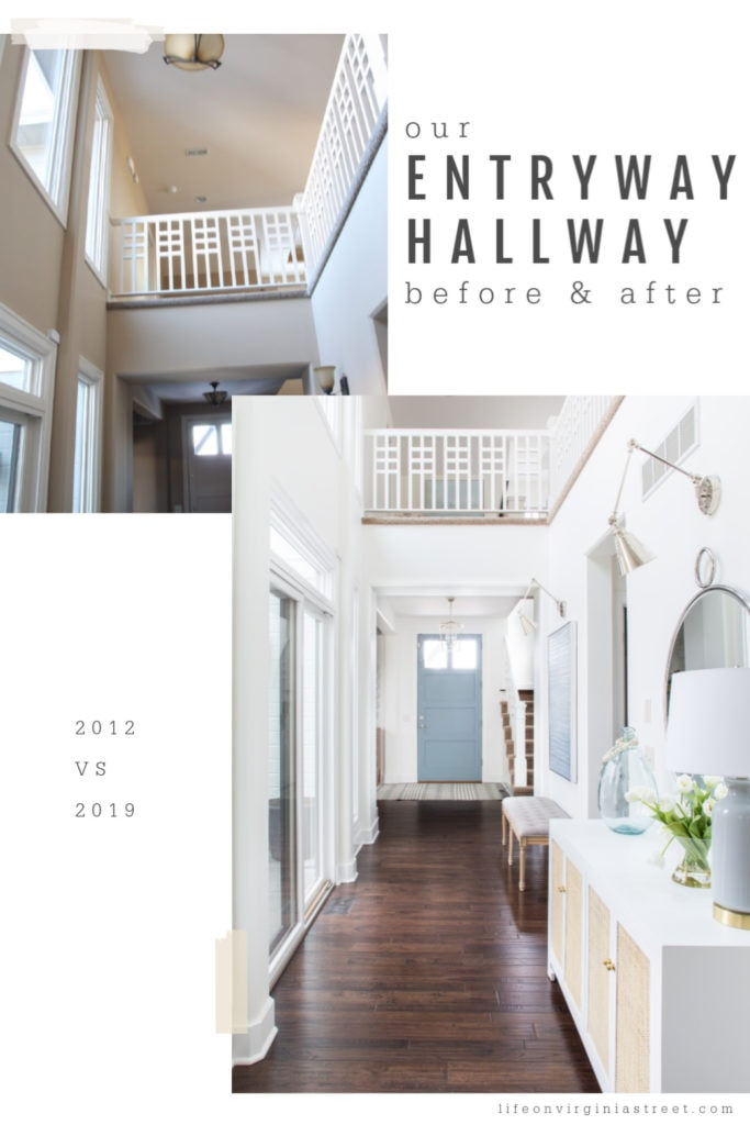 The entryway hallway painted a bright white with a console table in the hallway.