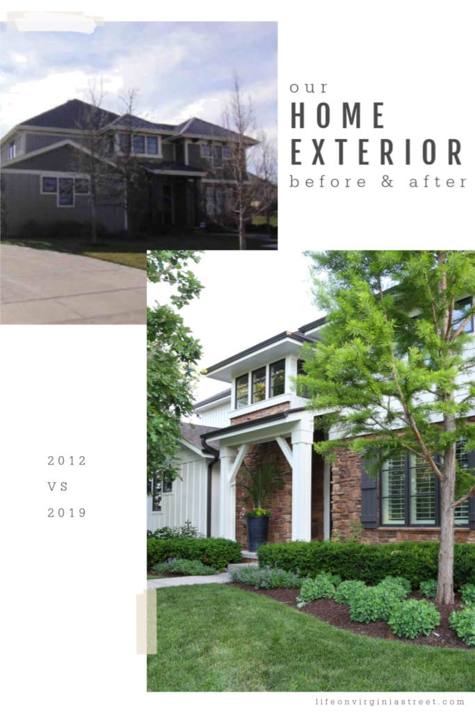 The exterior of their home, before and after pictures.