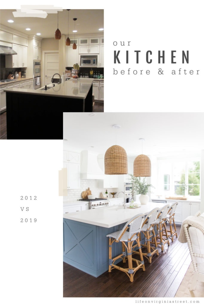 A coastal kitchen after picture with a light blue island and large pendant lights above the island.