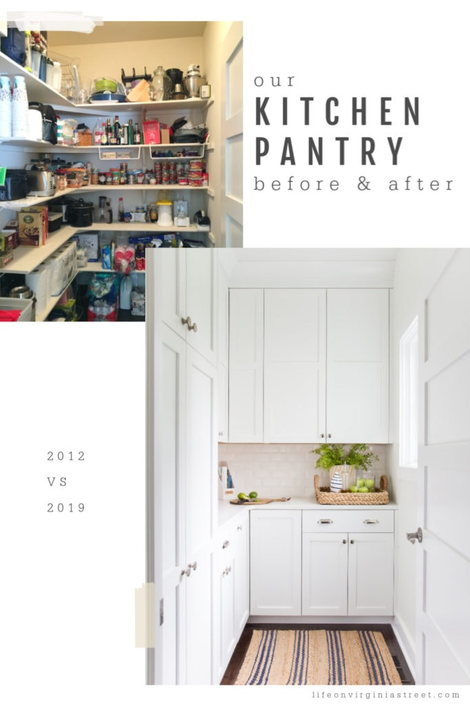 The kitchen pantry painted a bright white with cupboards with doors that close.