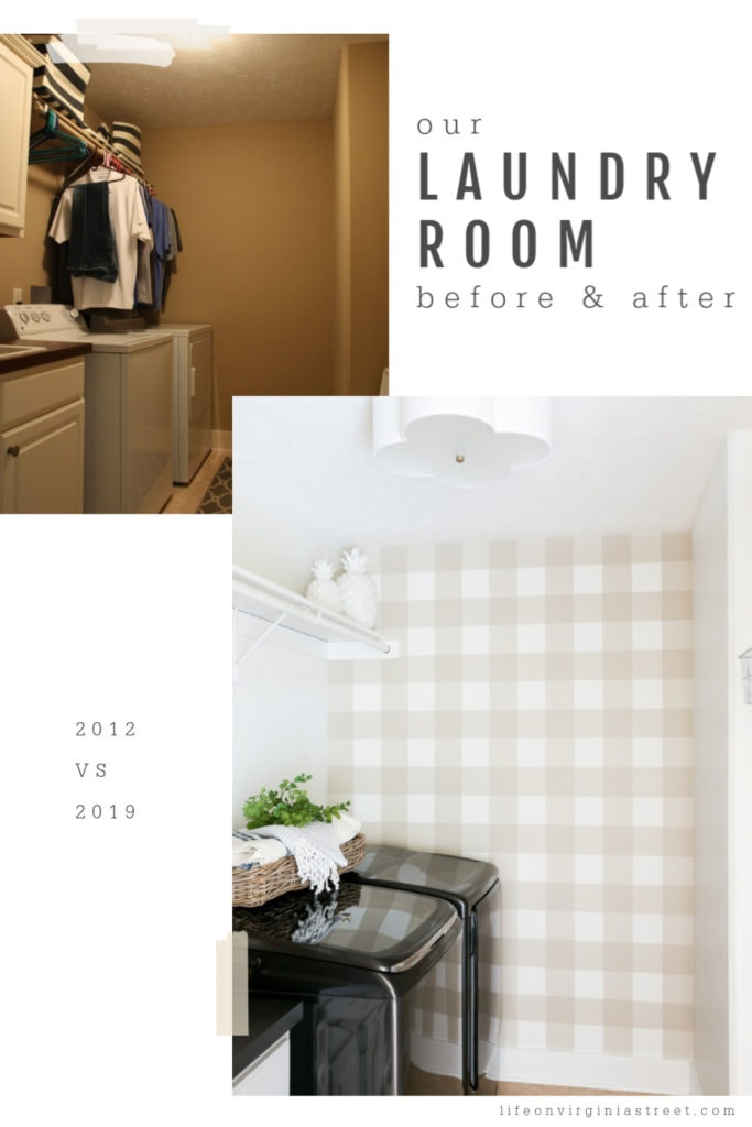 A laundry room with a checkered wall.