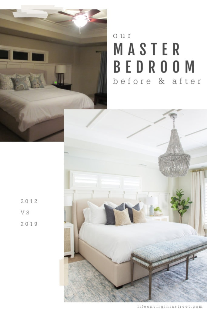 The master bedroom before and after picture, with a small bench at the foot of the bed. There is a large beaded chandelier above the bed.