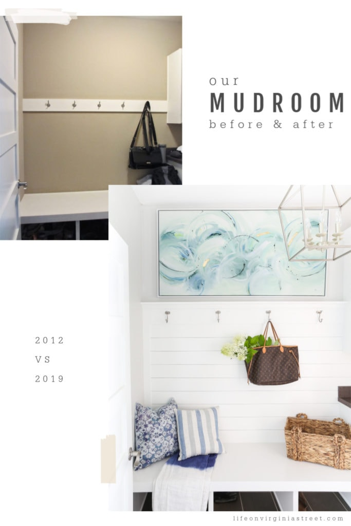 The light and bright mudroom with a tote bag hung up and flowers in the tote.