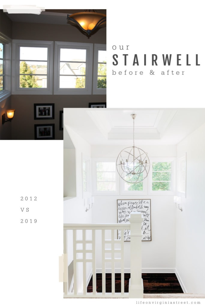 A large round chandelier is in the stairwell of the hallway in the after picture.