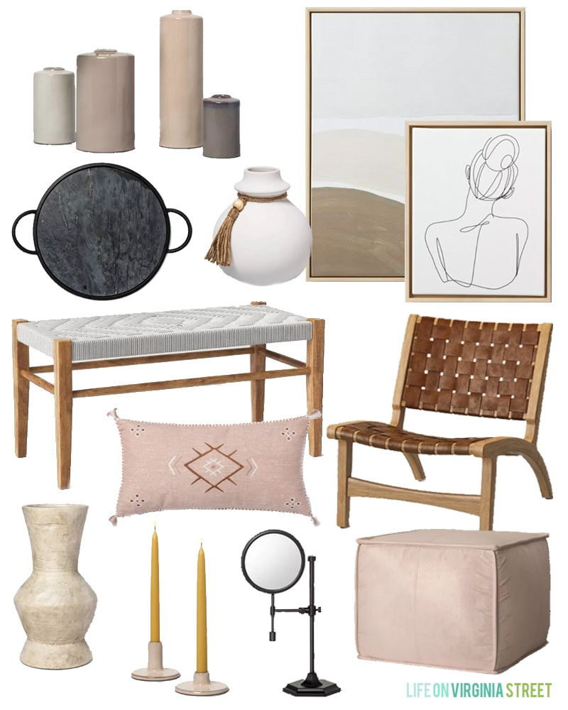 New Target Home Decor with a boho chic vibe! Get all the sources for each of these items in this blog post!