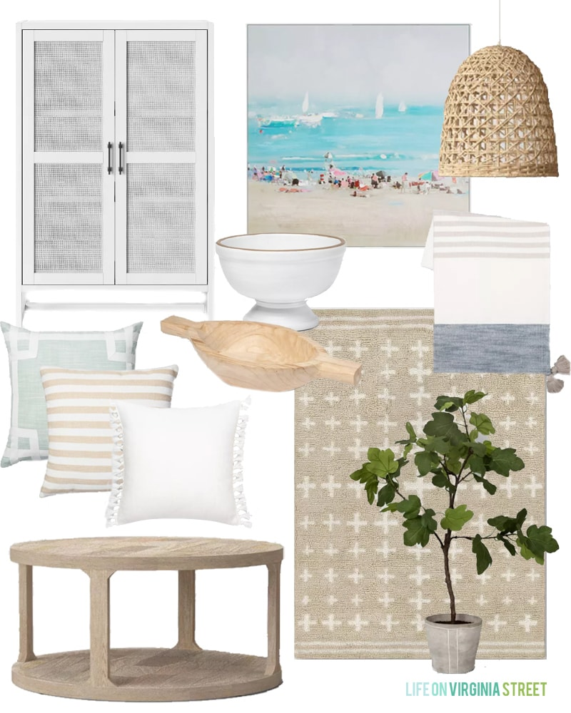 Coastal inspired Target home decor finds. Also includes more farmhouse, modern, and boho chic looks. I love the cross rug paired with the beach art, woven pendant light, white rattan cabinet, light wood coffee table and more!