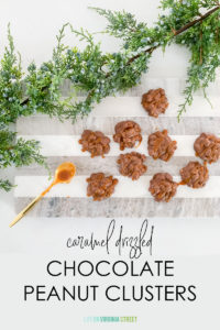 Caramel Drizzled Chocolate Peanut Clusters Recipe
