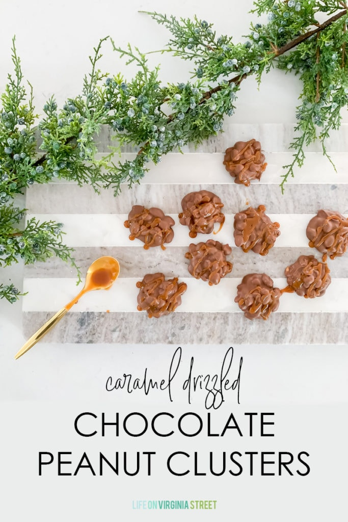 An easy-to-make Caramel Drizzled Chocolate Peanut Clusters recipe graphic.