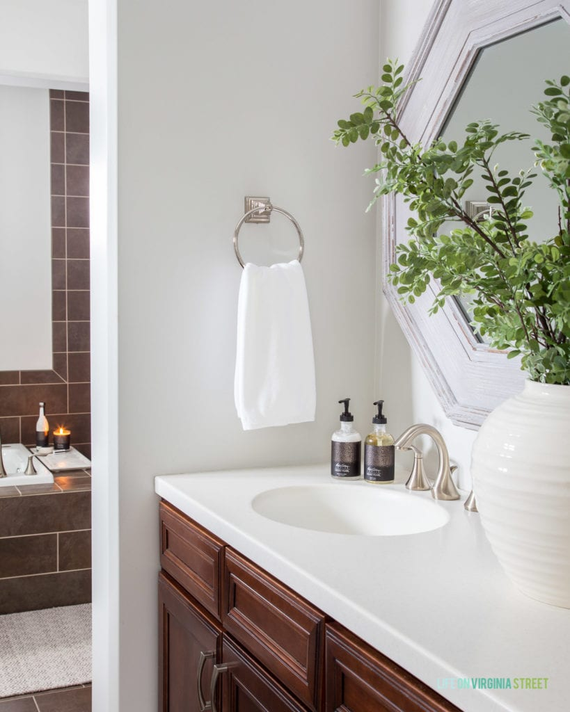These tips and trips will help make your bathroom feel spa-like with little effort or expense! Try adding greenery to your space to make it feel more alive and less sterile!