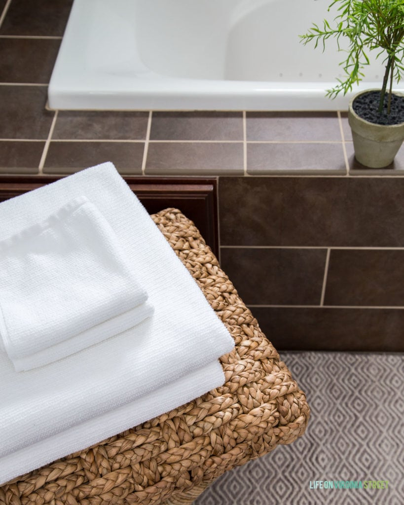 Consider upgrading your towels to ones like these from Kohler to make your bathroom feel more like a spa! Many other tips included in this post.