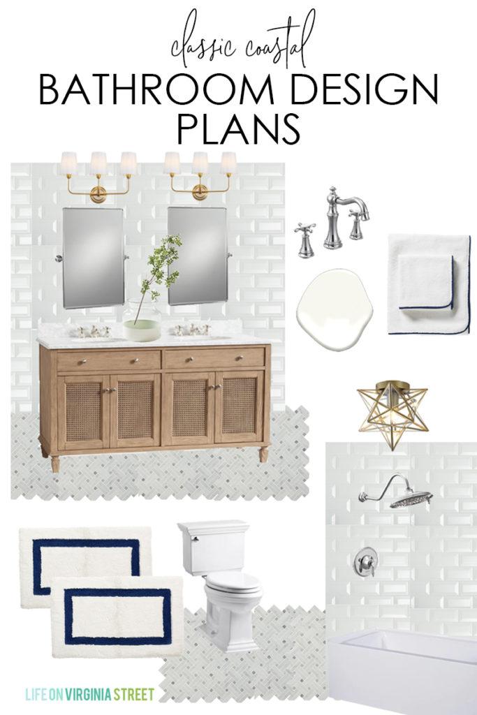 Classic coastal bathroom design plans and moodboard.