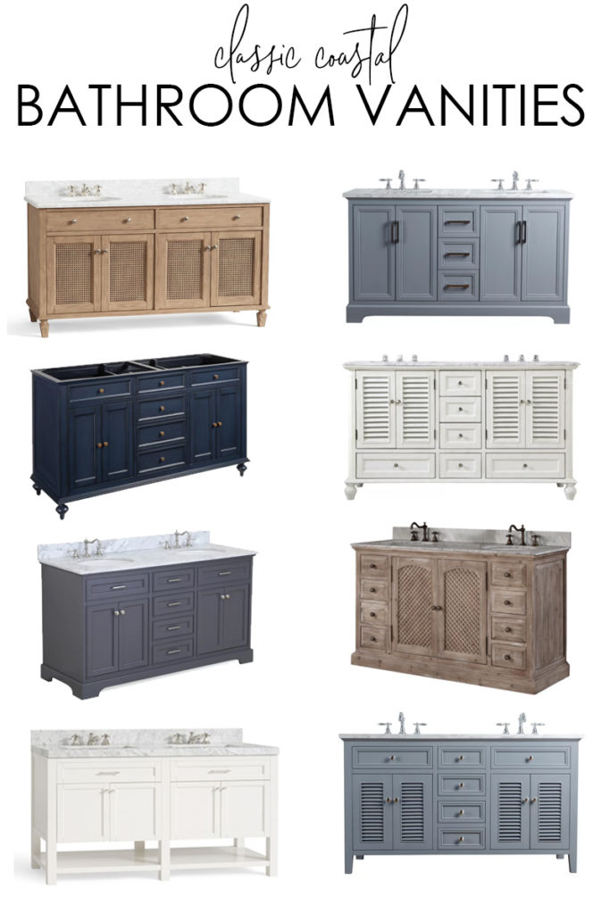 A collection of classic coastal bathroom vanities for a variety of budgets! Includes louvered bath vanities, driftwood vanities, gray bathroom vanities, white bath vanities and much more!