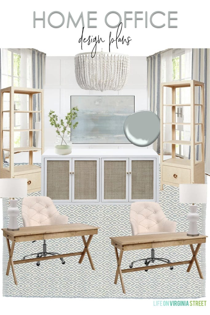 A shared home office design plan with neutral, blue, and white touches throughout. I love the wood desks paired with linen desk chairs, grasscloth bookcases, cane cabinet, blue abstract art and white wood bead chandelier!