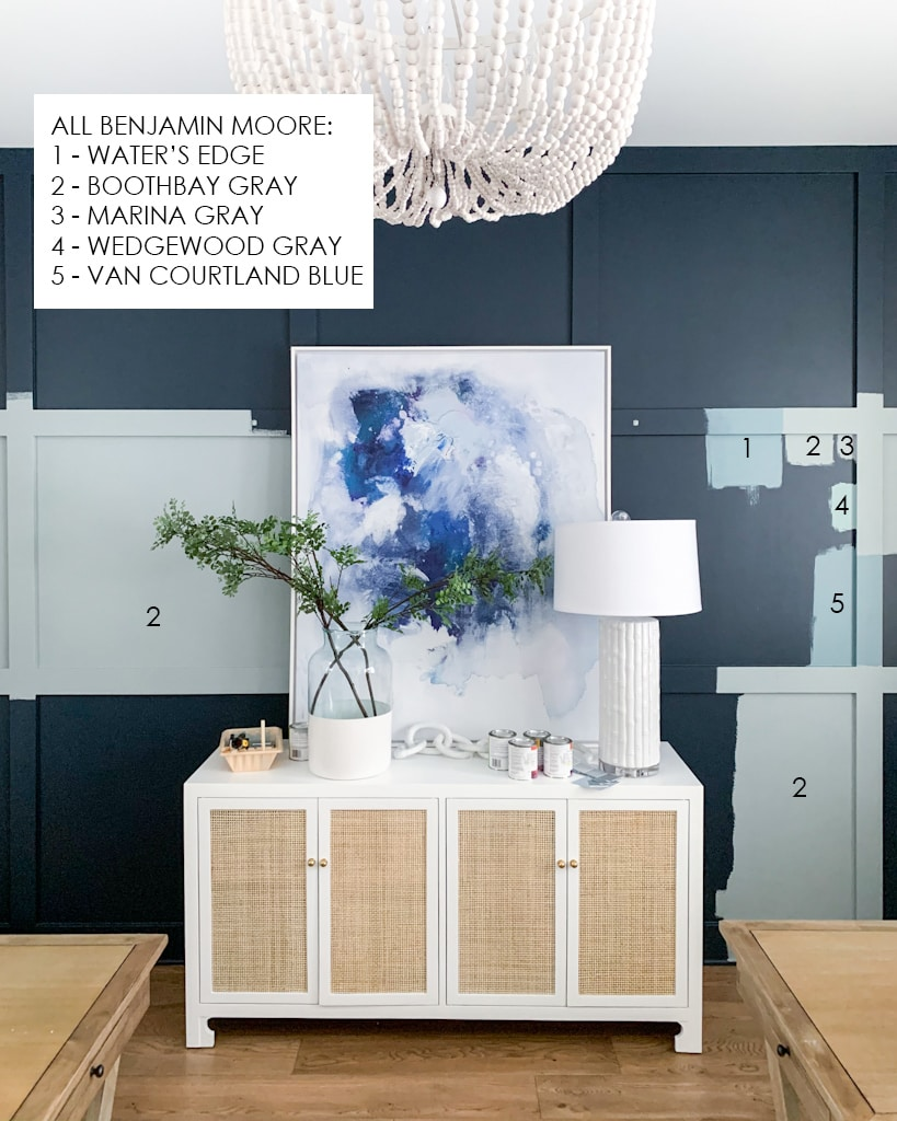 Blue gray paint sample options in our home office design plans.