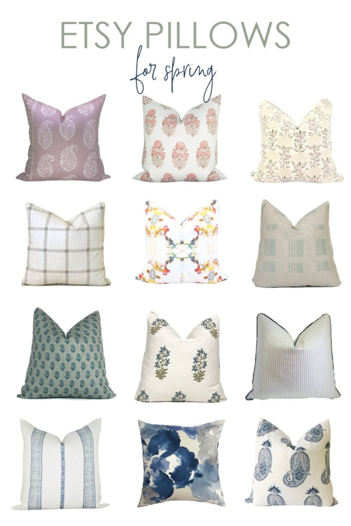 A curated collection of gorgeous Etsy pillows that are perfect for spring decorating! Includes paisley, floral, stripe and plaid pillow pattern options for all budgets!