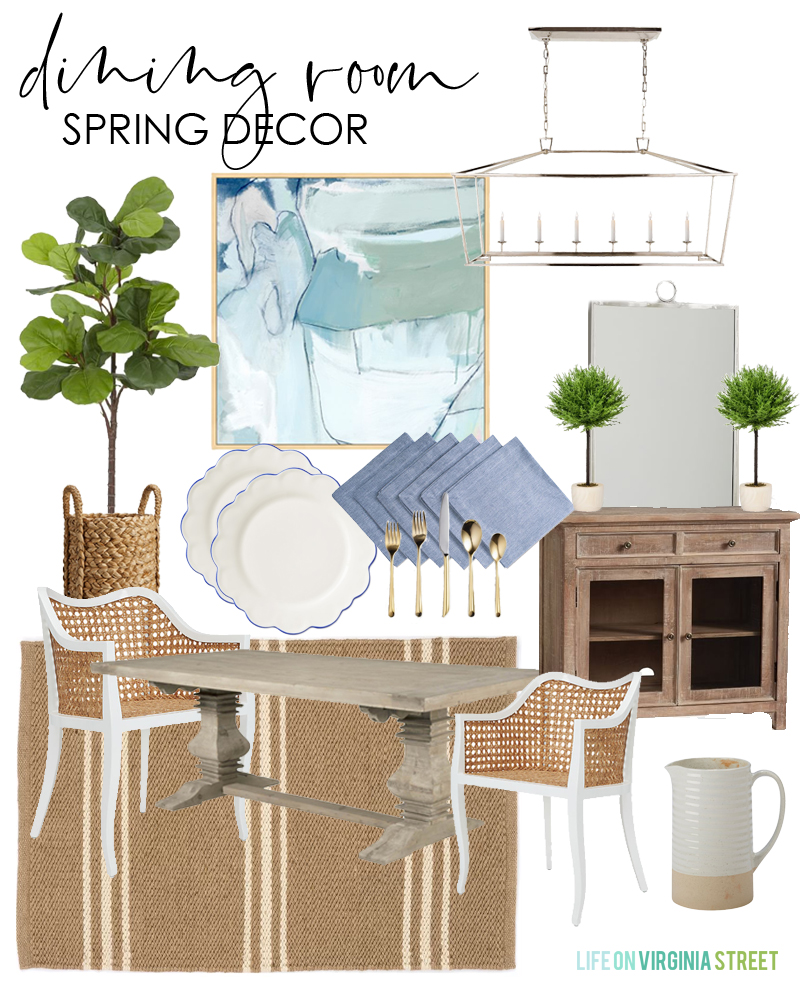 Dining room spring decor design board. Get tips on how to make mood boards and design boards for all your design needs!