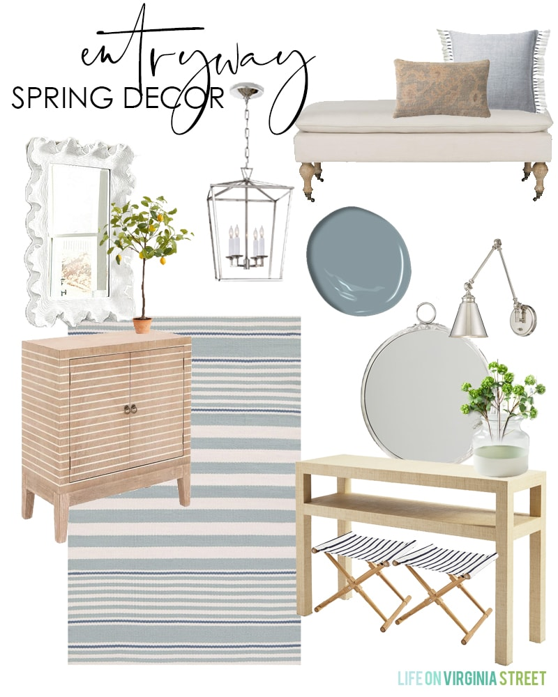 Entryway spring decorating ideas. I love the blue and white color palette with pops of green that feel so fresh for spring decor!
