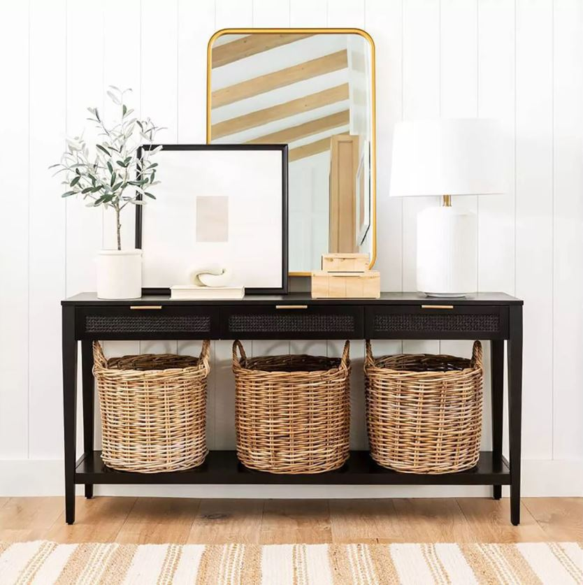 Studio McGee collection at Target! So many designer inspired pieces at an affordable prices. I love this cane console table, woven baskets, gold mirror, faux olive tree, oversized frame, and large white ceramic lamp!