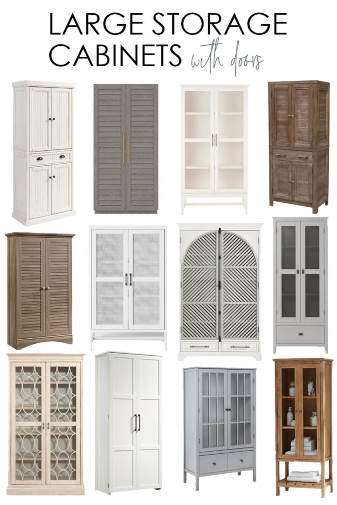 A collection of large storage cabinets with doors that work perfectly for adding storage to your home without sacrificing style! Includes wood, white and painted options!