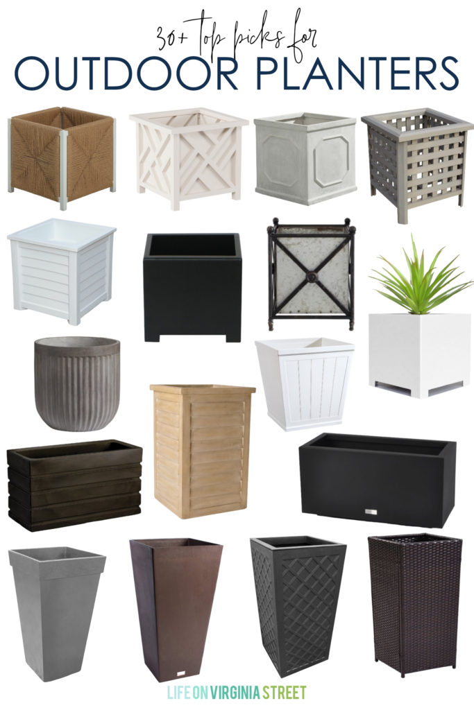 My top picks for outdoor planters! Includes a mix of wood, resin, plastic, composite, concrete planter options and more! Also includes self-watering planters!