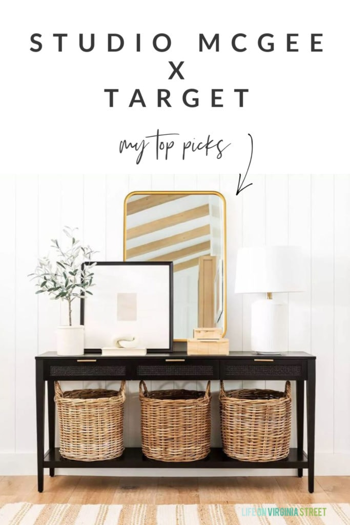 Sharing my top picks from the Studio McGee collection at Target! So many high-end looking finds at affordable prices. I love this black console table, gold mirror, woven baskets, striped rug, burl wood boxes, ceramic lamp and more!