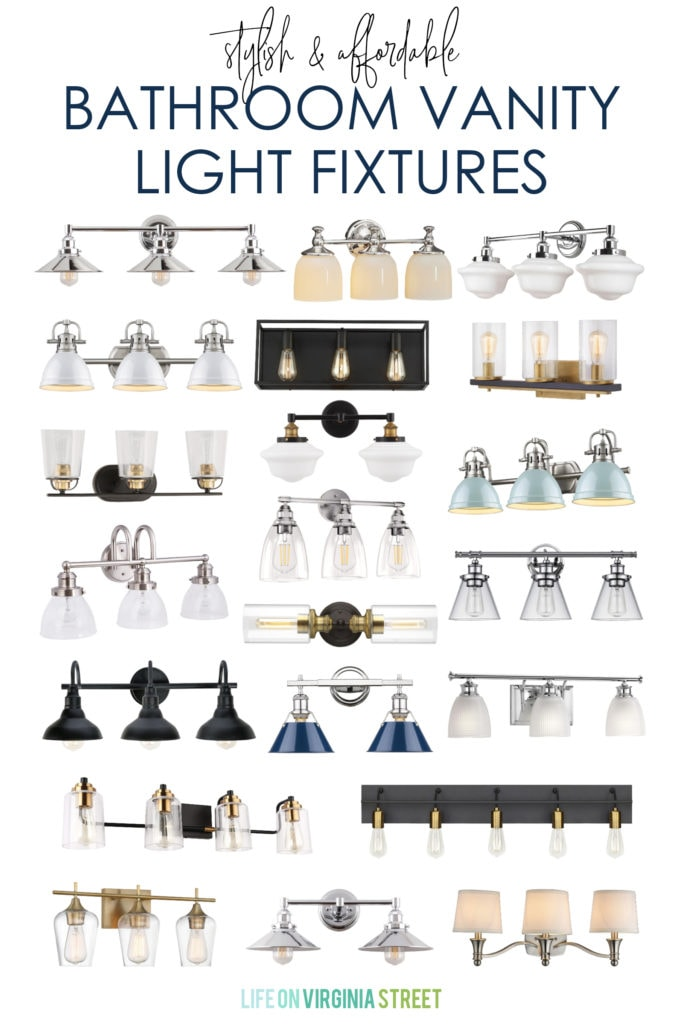 A collection of stylish and affordable bathroom vanity lights for all budgets! Includes a variety of light fixture finishes and bulb needs!