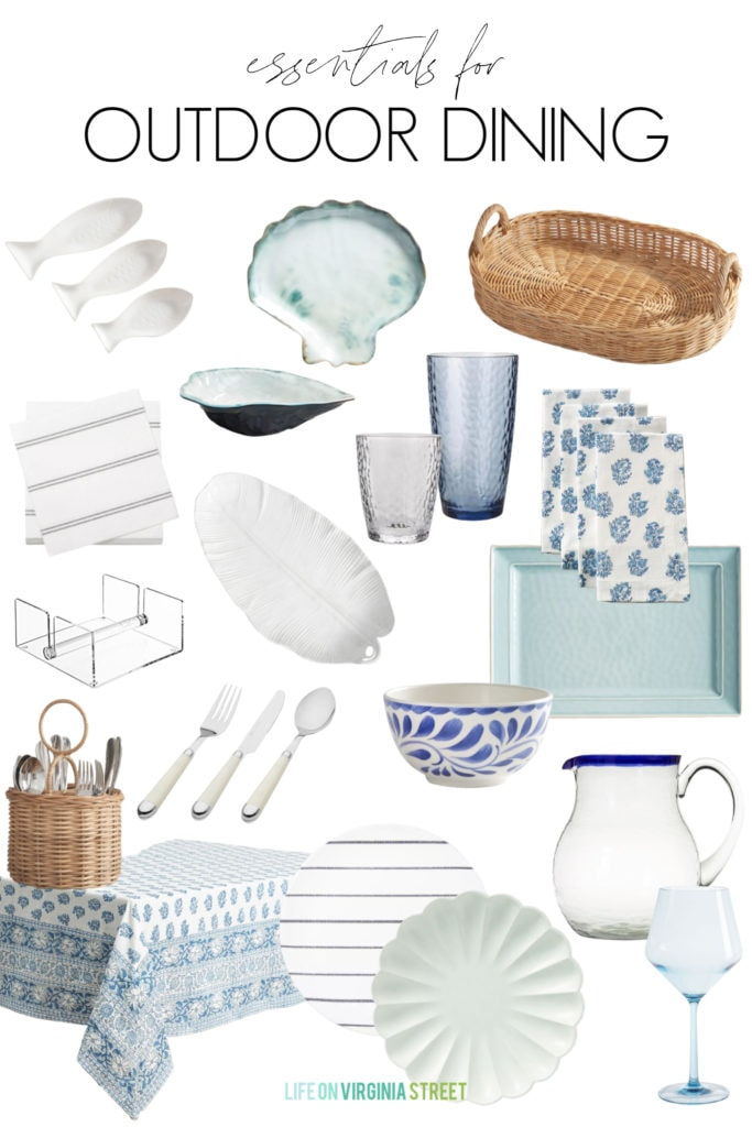 A collection of outdoor dining essentials like melamine plates, napkin holders, acrylic glasses, serving trays and more!