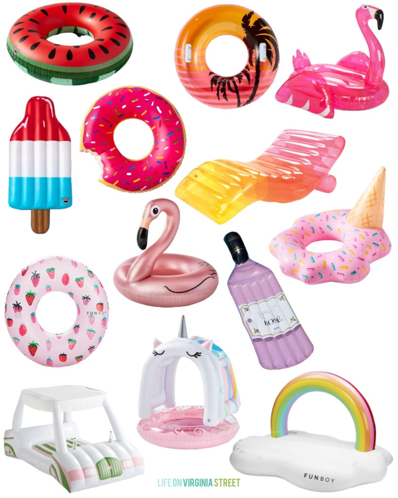 Colorful summer pool floats that are perfect for summer! Includes a watermelon pool ring, rose gold flamingo pool float, water golf card, unicorn, rose bottle, melted ice cream and more!