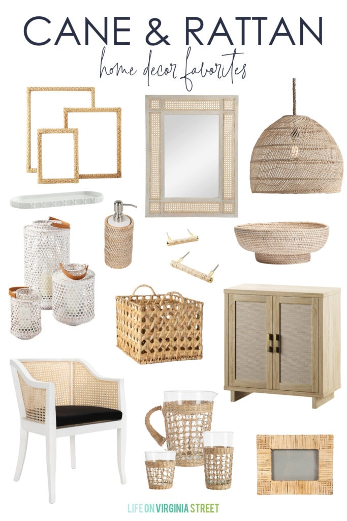 A collection of my favorite cane and rattan home decor pieces. They're the perfect natural accessory for spring and summer!