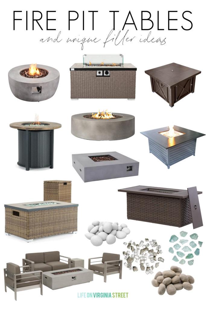 A collection of fire pit tables, fire pit sets, and unique fire pit filler ideas!
