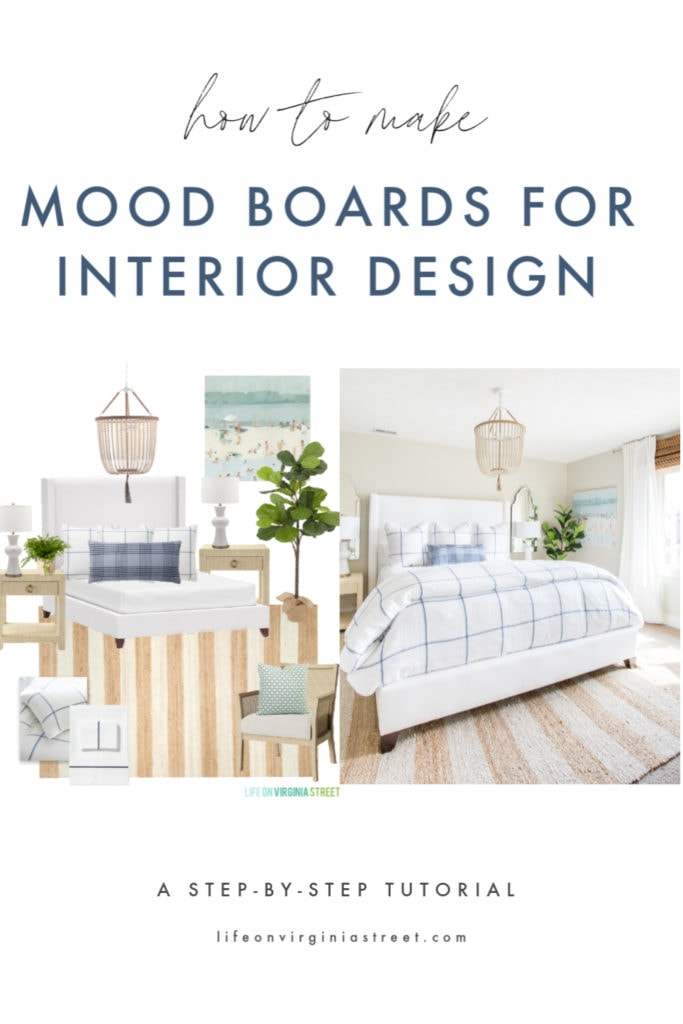 A step-by-step tutorial on how to make a mood board for interior design and fashion collages! This shows how a design board can transform into a real-life space!