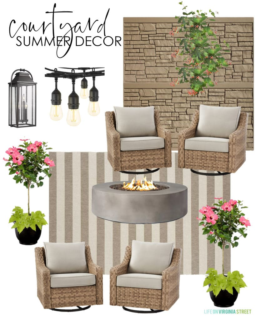 Outdoor courtyard summer decorating ideas. Includes a neutral striped outdoor rug, swivel chairs, fire pit, lanterns, and string lights.