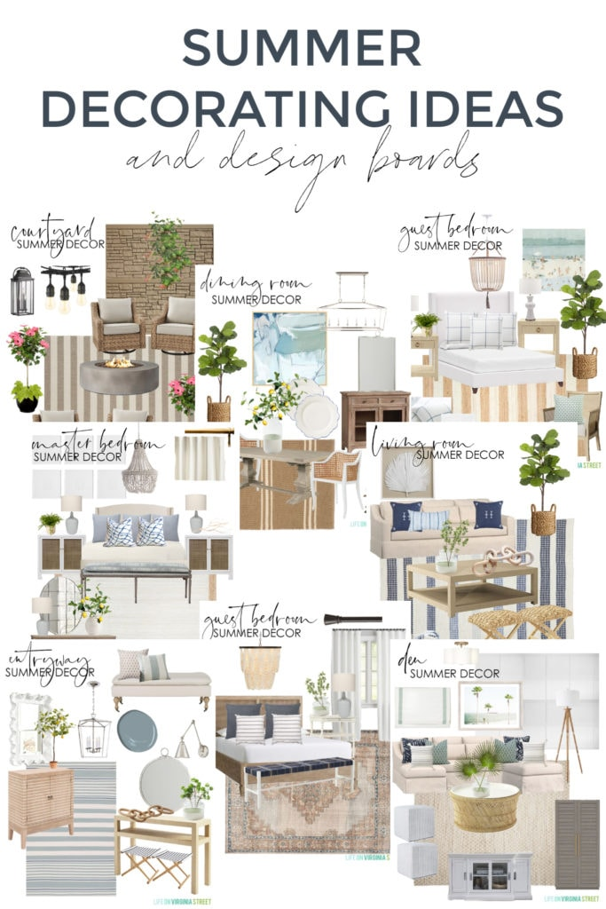 A collection of summer decorating ideas and design boards for every room in your home! All sources are included to re-create the look in your house and outdoor spaces.