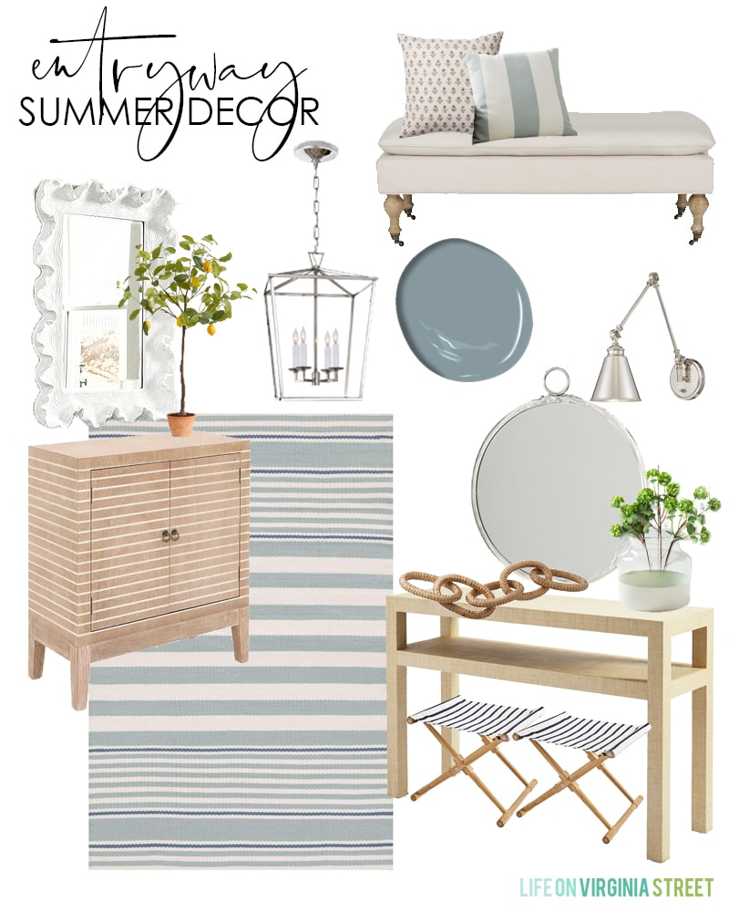 Summer decorating ideas and a mood board for a coastal inspired entryway. Includes a striped rug, wood cabinet, raffia wrapped console table, lemon trees and more!