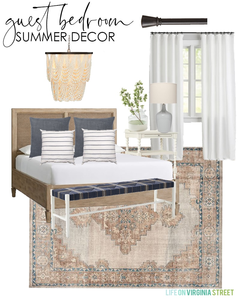 A simple guest bedroom design board with a vintage style rug, cane bed, linen pillows, bead chandelier, and striped pillows for summer.