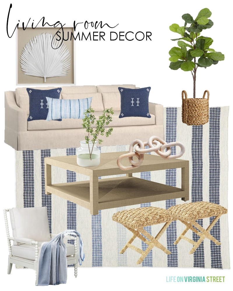 Summer decorating ideas for a living room with a linen sofa, raffia coffee table, blue striped rug, natural woven benches, white spindle chairs, palm art, and blue pillows.
