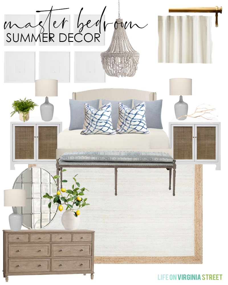Master bedroom decorating ideas for summer with an upholstered bed, blue patterned bench, water print pillows, lemon greenery, bead chandelier, gallery wall, and cane nightstands.